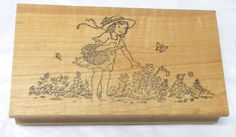 The Stamp pad girl picking flower rubber stamp wood Mounted Card making people #TheStamppad #GirlsChildrenflowersSpring