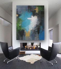 Abstract painting. Turquoise, white, black yellow by Rikke Laursen. Moderne abstrakt maleri.