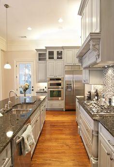 grey kitchen...love the long island and the backsplash!