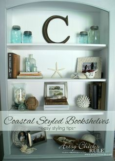 Coastal Styled Bookshelves (how To Style Shelves. How To Decorate ... Part 57
