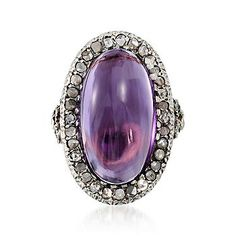 C. 1890 Vintage 12.00 Carat Amethyst and Diamond Ring