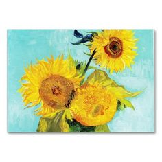 shop vincent van gogh sunflowers vase first turquoise business card created by artsygallery