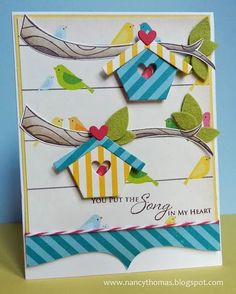 But, it was this card that really sealed the deal. Stunning. Truly playful and oh-so clever. Don't you just love those little birds peeking out from behind the birdhouses from our Home Tweet Home CutUps? And just the addition of a little piece of twine on the top of the Big Scallop? It's a wonderful way to finish off the birds on a wire concept. Really thoughtful.