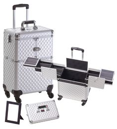 4 Wheel Spinner Rolling Makeup Case with 5 Trays Silver Diamond Aluminum, only $129.95 plus free shipping!