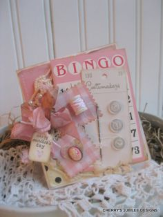 shabby chic bingo card vintage button card needle sewing HAPPY MOTHERS day stitched handmade card. , via Etsy.