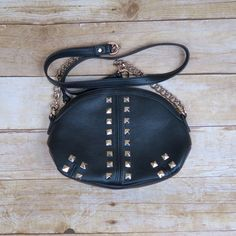 Black cross body bag with studs New black bag with studs and gold chain Shoe Dazzle Bags Crossbody Bags