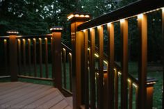 Other simple-to-install options that work especially well for decks include banister cap lights, rope lights and downlights built into the posts. Most of these accessories are easy to find, and retrofitting an existing deck stairway should be relatively easy.