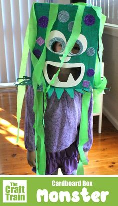 Cardboard box monster costume - make an easy DIY monster costume from a cardboard box. This is a fun Monster craft idea for kids and an easy handmade Halloween costume for kids Recycled Costumes, Handmade Halloween Costumes, Recycled Crafts, Halloween Crafts, Easy Halloween, Easy Crafts For Kids, Diy For Kids, Train Crafts, Trick Or Treat Costume