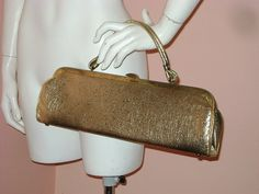 50s purse vintage 1950s handbag LONG GOLD by capricornvintage, $43.00