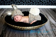 Newborn infant baby Knit Bunny Easter Hat and Diaper Cover set  photo prop