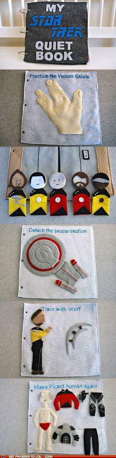 Star Trek Quiet Book -- for the geek baby in all of us ...how awesome is THIS?!??!?! AND I could do star wars, lord of the rings, harry potter....so many options!