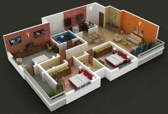 plano de casa con pared de ladrillos