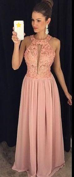 Halter Prom Dress,Pink Prom Dress,Maxi Prom Dress,Fashion Prom