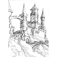 Fantasy castle sketch - WIP, please tell me what you think -... ❤ liked on Polyvore featuring fillers, sketches, backgrounds, drawings, doodles, text, effect, embellishment, borders and scribble
