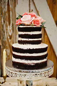 "Homemade ""naked"" chocolate wedding cake."