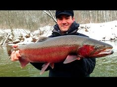 Cold weather steelhead fishing in west Michigan. We ran jigs under floats through deep pools where wintering fish can usually be found. Bobbers, Palm, Youtube, Youtubers, Hand Prints, Youtube Movies