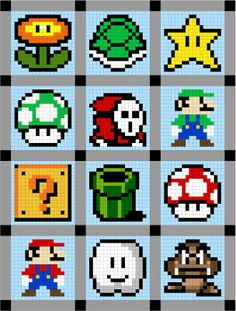 Super Mario Brothers Quilt Along - yes, i will be doing this for Grant. Super Mario Brothers Quilt Along – yes, i will be doing this for Grant…I mean, Tucker. Super Mario Brothers, Pixel Crochet, Crochet Chart, 8 Bit Crochet, Pearler Bead Patterns, Perler Patterns, Afghan Crochet Patterns, Stitch Patterns, Blanket Patterns