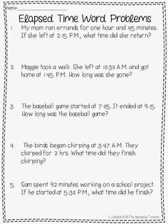 Tips for teaching elapsed time and a freebie   Time worksheets, Elapsed time worksheets, Fourth grade math Word Problems 3rd Grade, Time Word Problems, 3rd Grade Words, 2nd Grade Math, Second Grade, Fourth Grade, Printable Budget Worksheet, Budgeting Worksheets, Family Worksheet