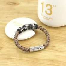 8'' Handmade Genuine Cow Leather Stainless Steel Accessory Fine Fashion Bracelet