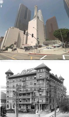 sw corner of olive and 4th 1920 and now   the fremont hotel, which has been a parking lot since it was demolished in 1954
