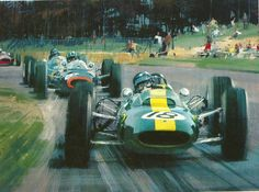1964 Dutch GP winnerJim Clark (Lotus Climax) leads Graham Hill,Gurney andSurtees on the first lap  from a painting by Michael Turner