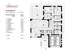 Projekt domu HomeKONCEPT-28   HomeKONCEPT Bungalow, House Plans, Floor Plans, Diagram, How To Plan, Architecture, Design, Floor Layout, Arquitetura