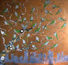 Brooklyn Parrots in a Klimt Tree- Joy Poulard Gustav Klimt, Henri Matisse, Monet, Figueras, Art Vintage, Custom Pillow Cases, Bee Art, Art For Art Sake, Beautiful Paintings