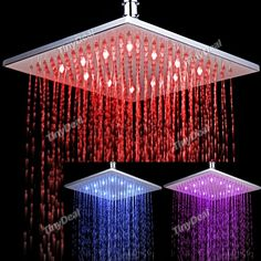 10-inch 12-LED 7-Color Changing LED Ceiling Shower Bathroom Shower Head Light HHI-212901