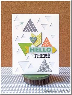 Hello There by Simple Collage, Hip Kit Club, Make Your Own Card, Paper Smooches, Hexagon Pattern, Card Tricks, Studio Calico, Homemade Cards, Your Cards