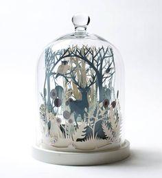 'Winter Wood', miniature Paper-cut art sculpture by British artist Helen Musselwhite~ Kirigami, Paper Cutting, 3d Cuts, Licht Box, The Bell Jar, Bell Jars, 3d Paper, Glass Domes, Paper Flowers