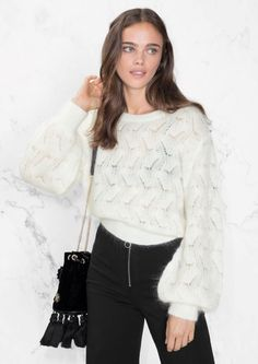 Knitted from a soft blend of mohair and merino wool, this sweater is defined by the voluminous body and puffy sleeves. Tighter cuffs and hem Length of sweater: 50 cm (size S) Model wears size S Merino Wool Sweater, Wool Sweaters, White Sweaters, S Models, Knitwear, Ready To Wear, Bell Sleeve Top, Lace, Sleeves