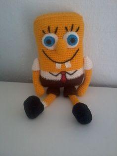 Boneco do Bob esponja feito em crochê.