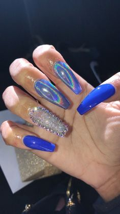 glitter blue sequin sequinned holographic nails nail art mani manicure idea – Valentines Ideas – Grandcrafter – DIY Christmas Ideas ♥ Homes Decoration Ideas Essie, Long Acrylic Nails, Long Nails, Gorgeous Nails, Pretty Nails, Nagel Stamping, Fire Nails, Birthday Nails, Prom Nails