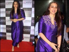 Spotted: Tabu Sonali Bendre in Indian outfits at the videocon event organised for honouring Anu Malik. Salwar Designs, Kurta Designs Women, Kurti Designs Party Wear, Indian Designer Outfits, Indian Outfits, Designer Dresses, Designer Kurtis, Indian Attire, Dress Neck Designs