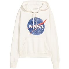 Printed Hooded Sweatshirt $24.99 (85 PLN) ❤ liked on Polyvore featuring tops, hoodies, jackets, shirts, sweaters, lined hoodies, white hoodies, white ribbed top, white top and hooded top