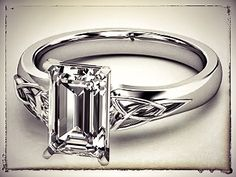 Emerald Cut Diamond Triquetra Celtic Engagement Ring