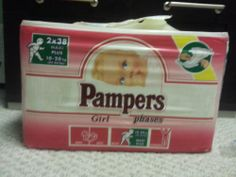 Vintage Pampers Phases Girls Plastic Disposable Diapers Size Large+ EU! Jumbo! One pack sold on eBay for $450! Feb 2014.  www.SnapPost.com