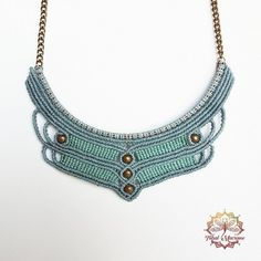 MACRAME bib NECKLACE vintage style blue and green water with golden chain tribal BOHO hippie bohemian elven fairy fantasy micromacrame Macrame Colar, Macrame Necklace, Bohemian Necklace, Micro Macrame, Macrame Jewelry, Macrame Bracelets, Boho Necklace, Beaded Necklaces, Boho Hippie