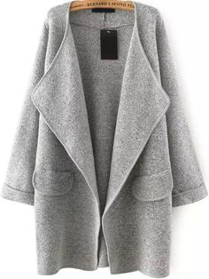Grey Lapel Long Sleeve Loose Sweater Coat Mobile Site