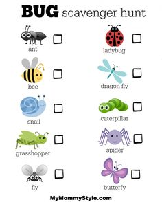 25 bug activities for kids - Bug Scavenger Hunt - Bug Activities, Summer Activities, Toddler Activities, Learning Activities, Animal Activities For Kids, Tot School, Summer School, Bingo, Preschool Science