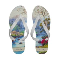 Farm By Flowing Stream K Seki watercolor scenery #flipflops #slippers #farm #watercolor #stream #flowing #water #flowers