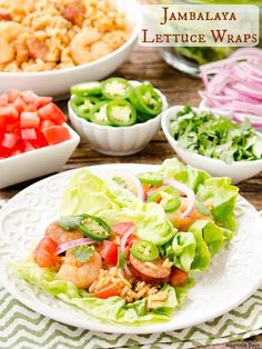Jambalaya Lettuce Wraps are a fun and tasty way to enjoy jambalaya. Build your own with assorted vegetable and herb toppings. #SundaySupper with @Zatarains