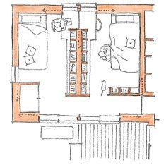 夫婦の寝室を別室で作る方法には、色々とあるかと思います。この家は、本棚を間仕切りとして、緩やかに仕切ってみました。本棚で仕切りつつ、書斎机の所で、つながる... Shared Boys Rooms, Shared Bedrooms, Hotel Room Design, Kids Room Design, Bedroom Divider, Tiny Living Rooms, Small Living, Room Planning, Bedroom Layouts