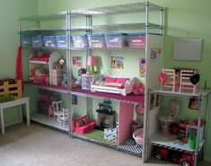 RePurpose: Easy alter Doll House or Action Figure Hideout. You could really make this cute with some fabric walls. When it's outgrown great for the garage, craft room or attic.  Great if either girl gets into American girl dolls:
