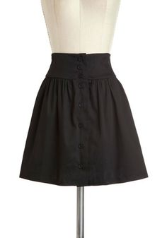 Take the A-line Skirt - Cotton, Short, Black, Solid, Buttons, Girls Night Out, A-line, Basic