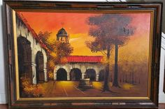 Oil Painting of Courtyard Sunset by Brent Art Canvas Original Frame  #Impressionism