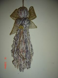 Angel Christmas Yarn Ornament - inspiration - i've made these before, might try to use up some of the HUGE yarn & fiber inventory I still have - some would work very nicely for this, and my crocheted angels are getting a bit worn . #Yarn #Christmas #Angel #Crafts - pb†å