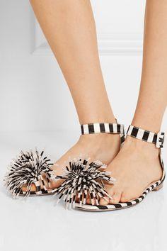 Monse | + Mariela Montiel striped duchesse-satin sandals | NET-A-PORTER.COM
