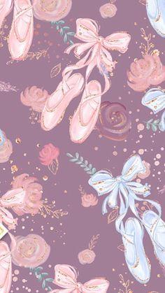 Ballerina Art, Ballet Art, Ballet Shoes, Cute Backgrounds, Wallpaper Backgrounds, Iphone Wallpapers, Ballet Wallpaper, Ballet Drawings, Ballet Painting