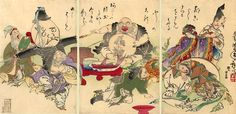 The Seven Lucky Gods, in an 1882 woodblock print by Tsukioka Yoshitoshi I think it is very interesting that only one of these deities  is female. It makes me wonder if she is Wendy to the lost boy gods? I did n't find any stories of them, but I will start looking, as they are just the kind of deitites I'd like to know more about.